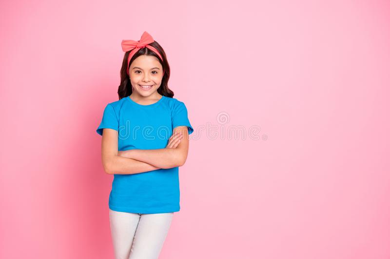 Portrait of her she nice attractive charming cute lovely winsome cheerful cheery pre-teen girl folded arms isolated on royalty free stock photography