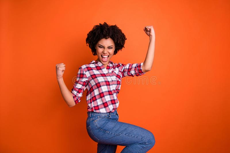 Portrait of her she nice attractive ecstatic cheerful cheery satisfied wavy-haired lady wearing checked shirt attainment. Portrait of her she nice attractive stock photos