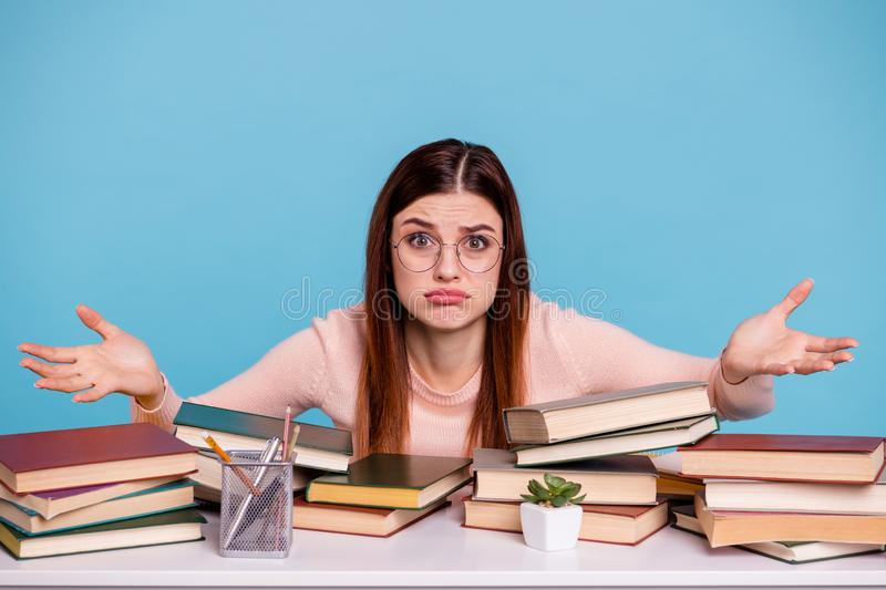 Portrait of her she nice attractive ignorant illiterate doubtful girl preparing exam test subject university 1-September. Portrait of her she nice attractive stock photography