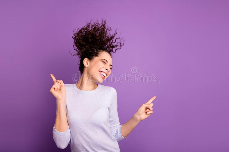Portrait of her she nice attractive lovely winsome pretty dreamy cheerful cheery wavy-haired girl having fun dancing. Portrait of her she nice attractive lovely royalty free stock photo