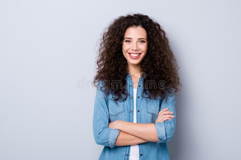 Portrait of her she nice cute pretty charming winsome attractive lovely content cheerful cheery optimistic wavy-haired. Girl folded arms over gray pastel royalty free stock photos