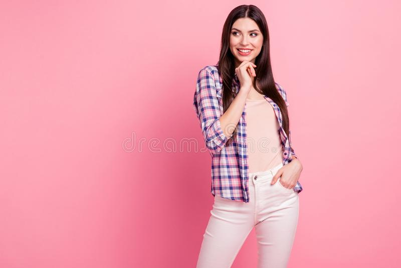 Portrait of her she nice-looking attractive cute charming sweet well-groomed lovely feminine slim fit thin straight. Haired lady isolated over pink pastel royalty free stock photos