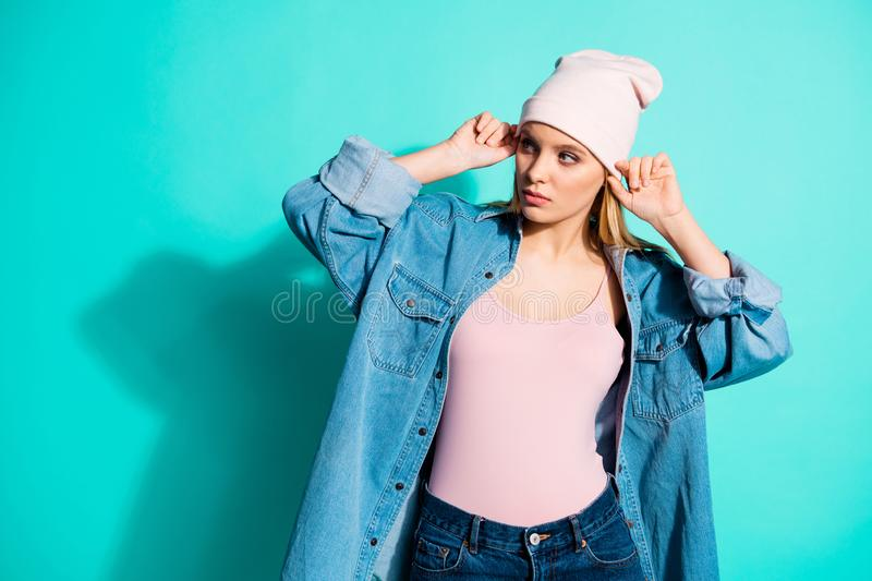 Portrait of her she nice-looking attractive lovely charming cute content teen girl wearing modern cool accessory clothes royalty free stock images