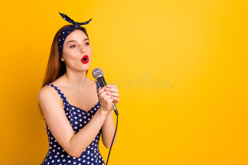 Portrait of her she nice-looking attractive lovely cheerful cheery straight-haired girl artist singing popular melody. Portrait of her she nice-looking royalty free stock photo