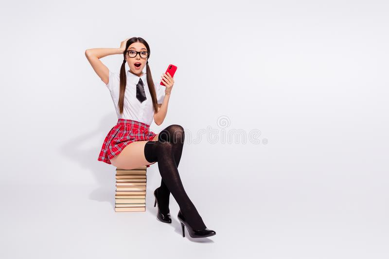 Portrait of her she nice-looking attractive lovely glamorous cheerful amazed astonished lady girl wearing checked skirt. Portrait of her she nice-looking royalty free stock image