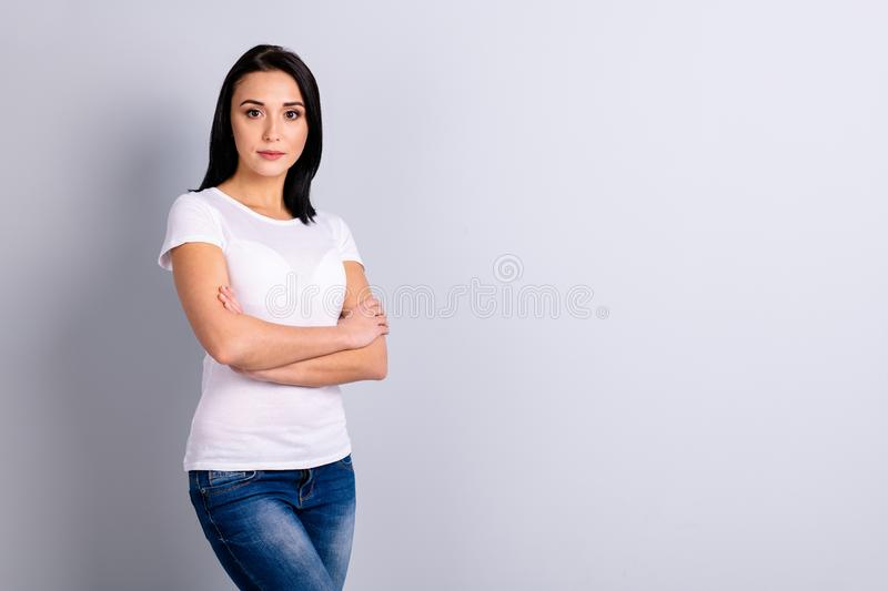 Portrait of her she nice-looking attractive lovely winsome content experienced successful girl lecturer professor folded. Portrait of her she nice-looking stock photos