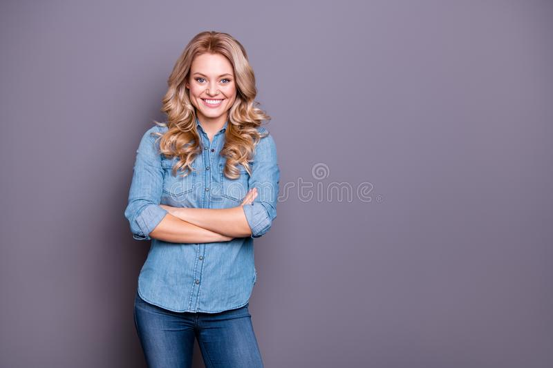 Portrait of her she nice-looking cute charming lovely attractive cheerful optimistic cheery wavy-haired lady folded arms. Over gray purple violet pastel royalty free stock photography