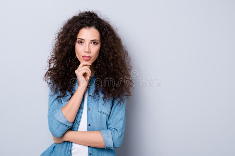 Portrait of her she nice-looking cute charming pretty winsome gorgeous magnificent attractive lovable lovely fascinating. Minded wavy-haired girl touching chin stock images