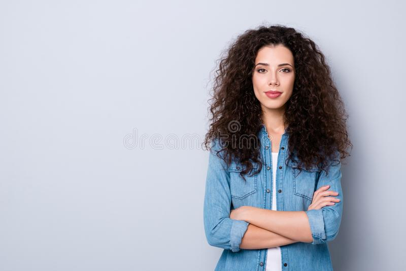 Portrait of her she nice-looking cute pretty charming winsome attractive lovely content wavy-haired girl folded arms royalty free stock images