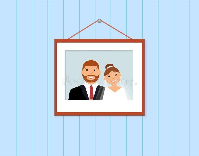 Portrait heureux de famille : marié et jeune mariée dans le cadre illustration stock