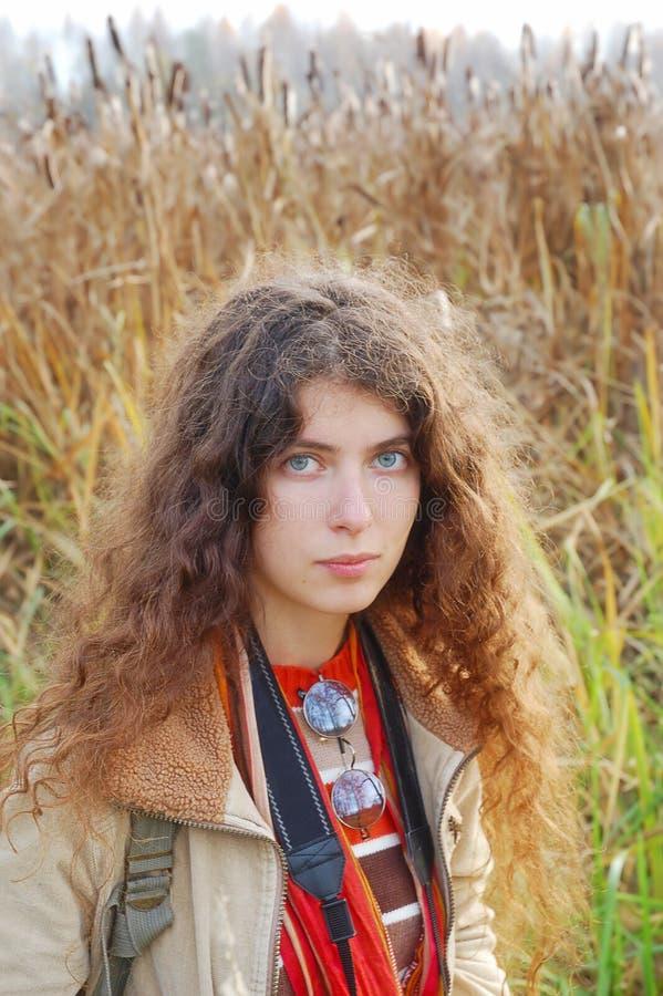 Portrait of hippie girl. Portrait of beautiful hippie girl stock image