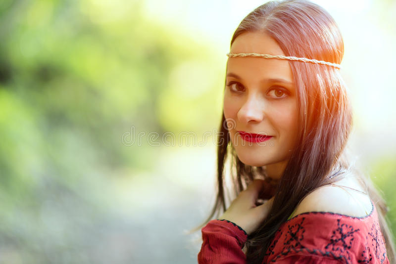 Portrait of hippie girl royalty free stock photography