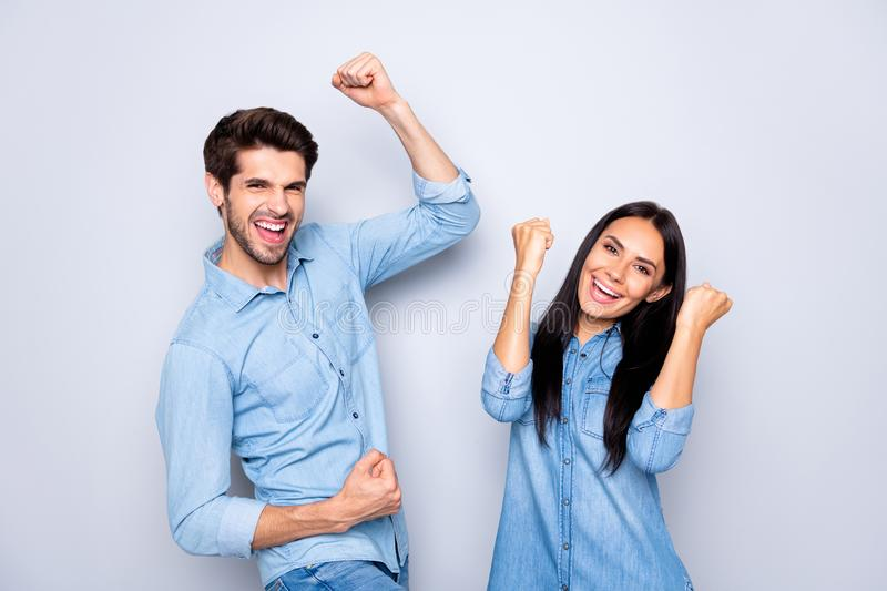Portrait of his he her she nice attractive charming lovely cheerful cheery ecstatic couple celebrating attainment chance. Portrait of his he her she nice royalty free stock photography
