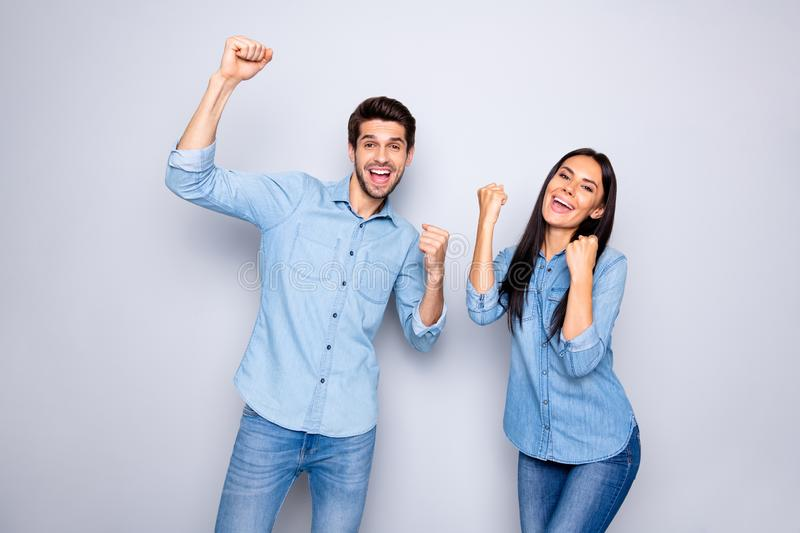 Portrait of his he her she nice attractive charming lovely cute cheerful cheery couple celebrating attainment. Portrait of his he her she nice attractive stock photos