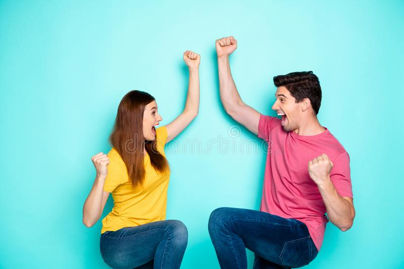 Portrait of his he her she nice attractive lovely ecstatic cheerful cheery couple celebrating attainment good luck. Portrait of his he her she nice attractive royalty free stock photos