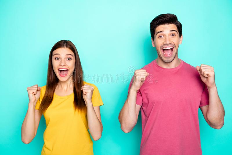 Portrait of his he her she nice attractive lovely glad cheerful cheery couple celebrating attainment good news isolated. Portrait of his he her she nice stock image