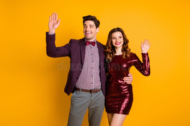 Portrait of his he her she nice-looking attractive elegant smart cheerful friendly people spending holiday waving. Portrait of his he her she nice-looking royalty free stock image