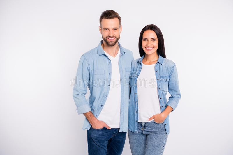 Portrait of his he her she nice-looking attractive lovely adorable cheerful cheery glad content persons spending time royalty free stock photos