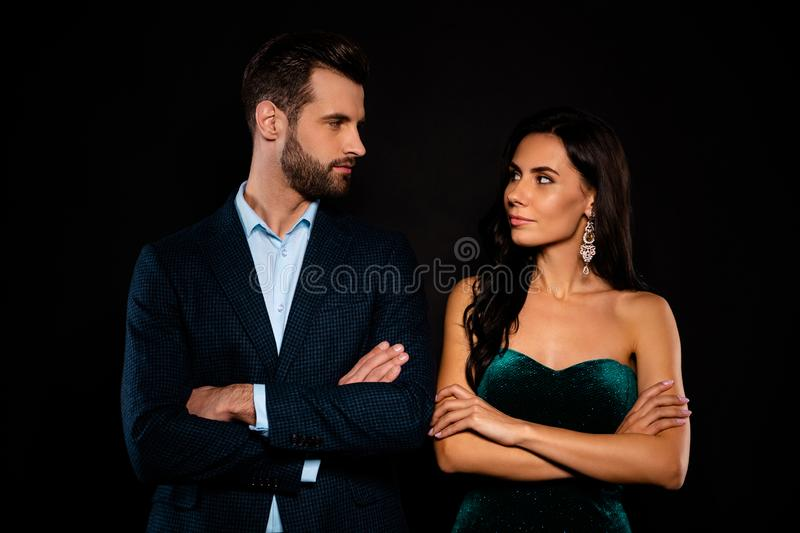 Portrait of his he her she nice-looking well-dressed attractive luxurious trendy brandy content successful people folded. Portrait of his he her she nice-looking royalty free stock image