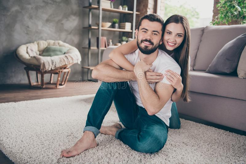 Portrait of his he her she two nice attractive lovely stylish cheerful cheery positive tender people having fun day stock image
