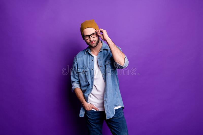 Portrait of his he nice attractive content virile brutal masculine cool bearded guy posing modern lifestyle isolated royalty free stock photos