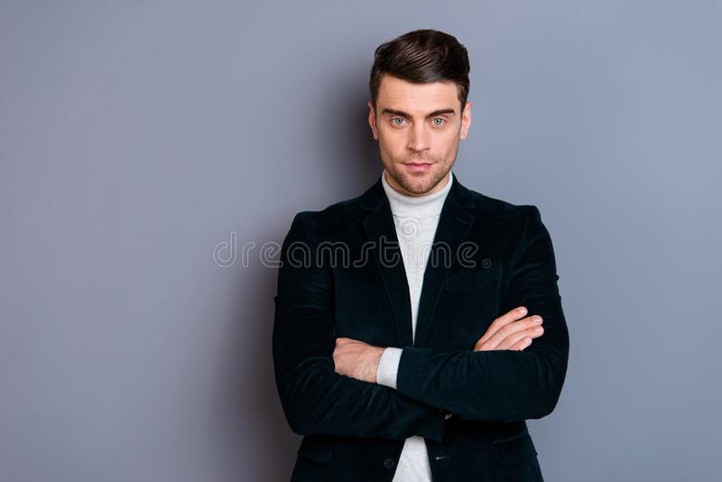 Portrait of his he nice cute handsome attractive candid focused guy wearing velvet blazer folded arms isolated over gray. Violet purple pastel background royalty free stock photography