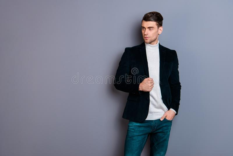 Portrait of his he nice handsome attractive candid focused dreamy guy wearing velvet blazer looking aside isolated over. Gray violet purple pastel background stock photography