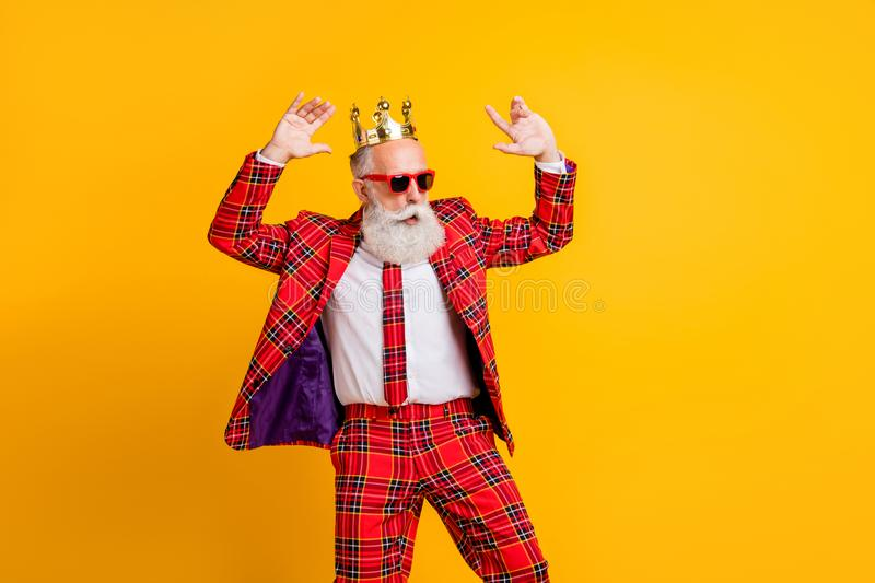 Portrait of his he nice handsome attractive rich wealthy funky gray-haired man dancing having fun amusement chill out. Portrait of his he nice handsome royalty free stock image
