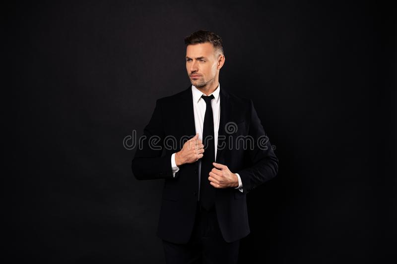 Portrait of his he nice-looking attractive chic gorgeous content luxurious guy financier executive director auditor. Attorney lawyer shark posing isolated over royalty free stock photography