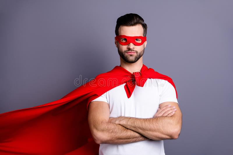 Portrait of his he nice-looking attractive content virile masculine sportive brutal macho bearded guy folded arms. Portrait of his he nice-looking attractive stock photography