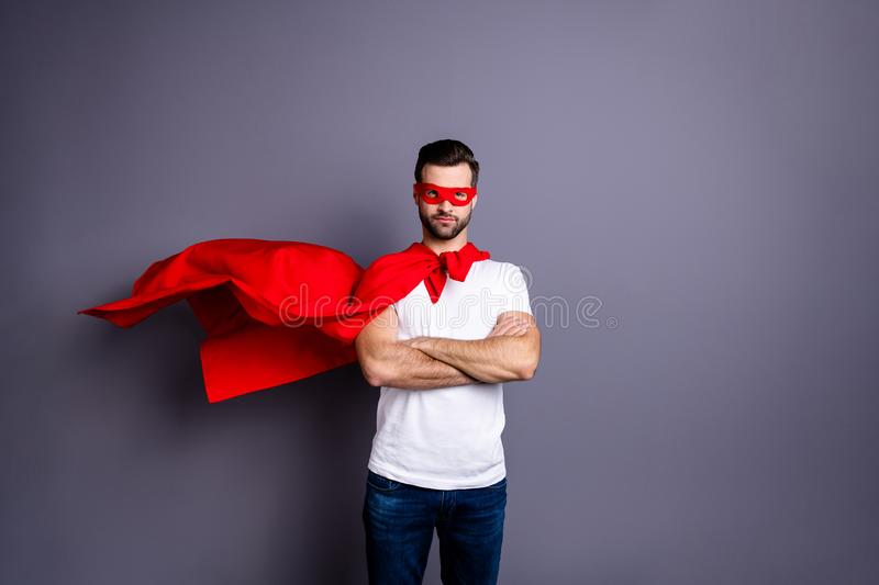 Portrait of his he nice-looking attractive content virile sporty macho bearded guy folded arms  over gray pastel. Portrait of his he nice-looking attractive royalty free stock image