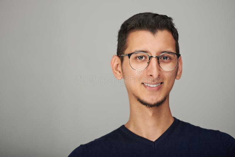 Portrait of hispanic man in glasses royalty free stock photos