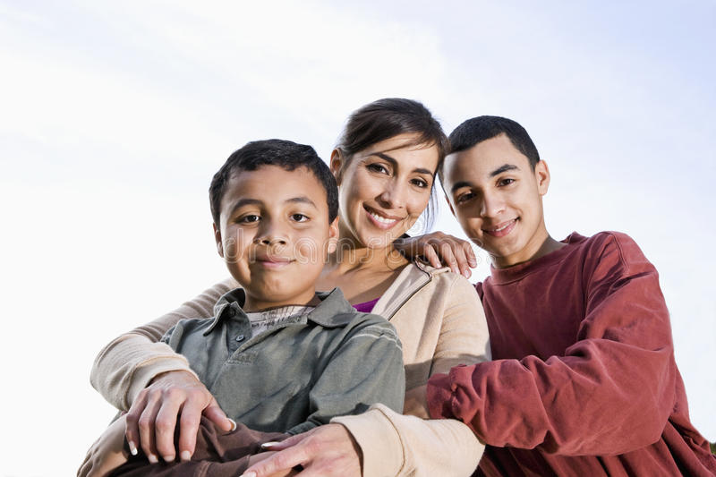 Portrait of Hispanic mother and son outdoors royalty free stock images