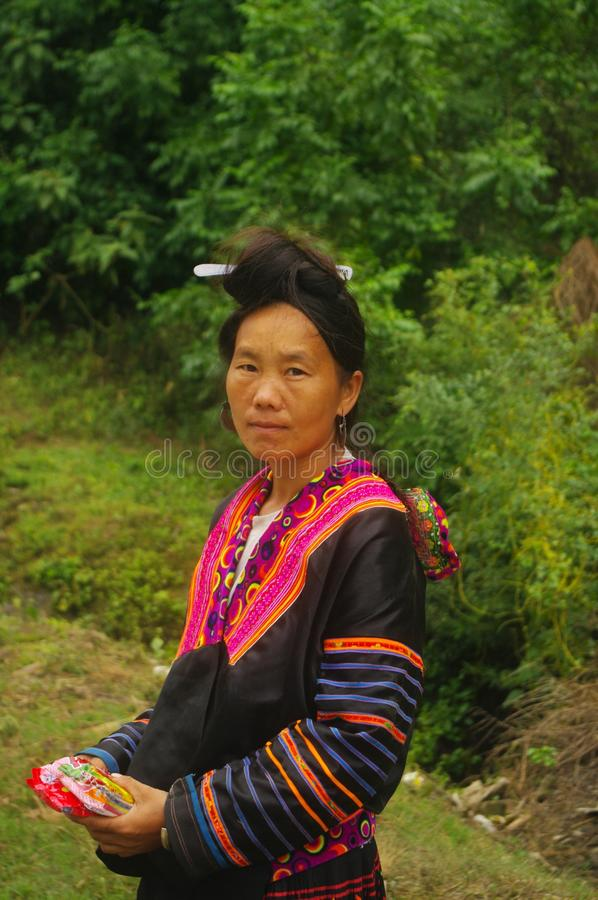Portrait of a Hmong woman in the area of Lai Chau stock image