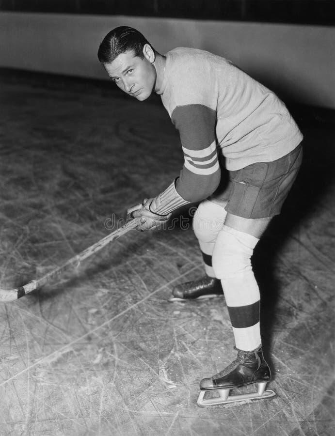 Portrait of hockey player royalty free stock photo
