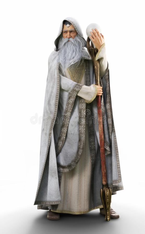 Portrait of a hooded grey cloaked wizard holding his magical staff on an  white background. stock illustration