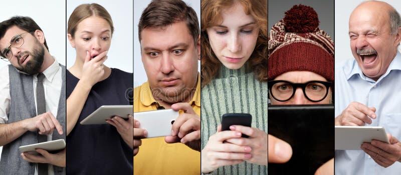 Portrait horizontal de colage de plusieurs femmes et hommes à l'aide des dispositifs modernes pour vérifier leur courrier photo libre de droits