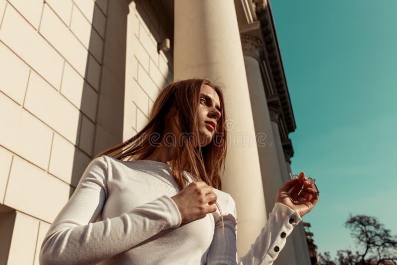 Portrait horizontal de mode d'une belle jeune femme avec de longs cheveux blonds images stock