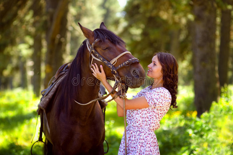 Portrait of a horse and woman.  royalty free stock image