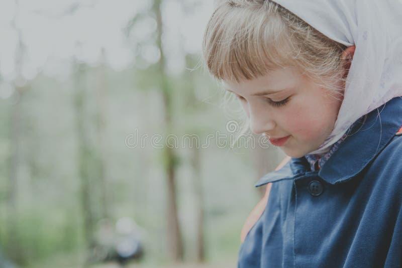 Portrait of hte cute little girl stock photo