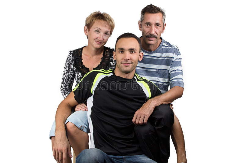 Portrait of the hugging happy family royalty free stock photos