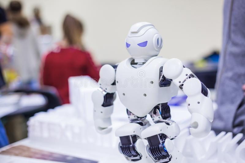 Portrait of humanoid futuristic robot. MOSCOW, RUSSIA - OCTOBER 12, 2018: Science Festival - portrait of humanoid futuristic robot at technology exhibition stock image