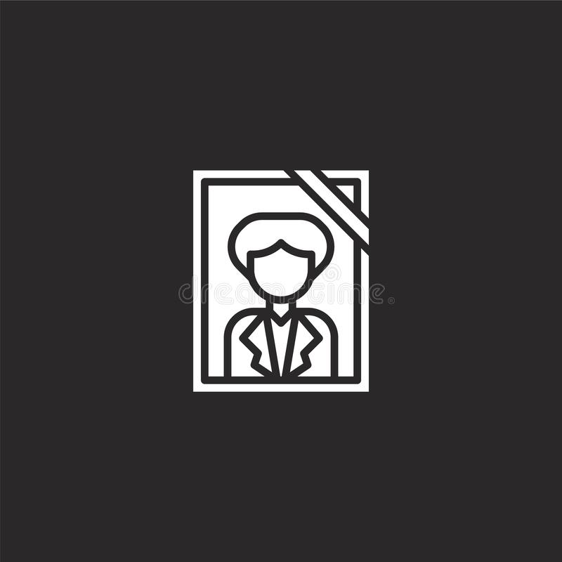 Portrait icon. Filled portrait icon for website design and mobile, app development. portrait icon from filled funeral collection. Isolated on black background stock illustration