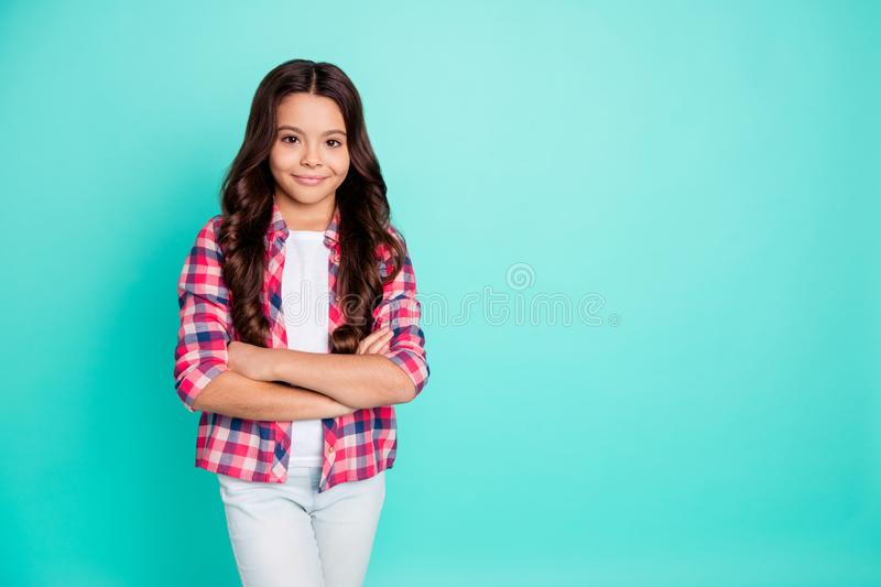Portrait of independent elegant little girl good-looking candid glad future leader leadership will be perfect student royalty free stock photos