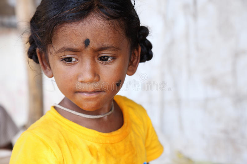 Portrait of Indian Little Girl. Looking somewhere royalty free stock images
