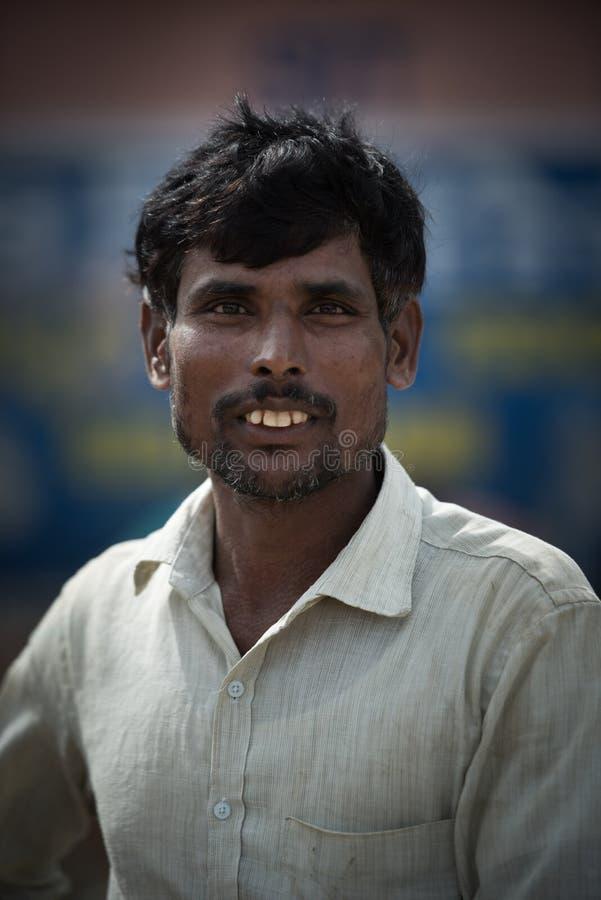 portrait of Indian man in local morning market at Hospet,Karnataka,South India royalty free stock image