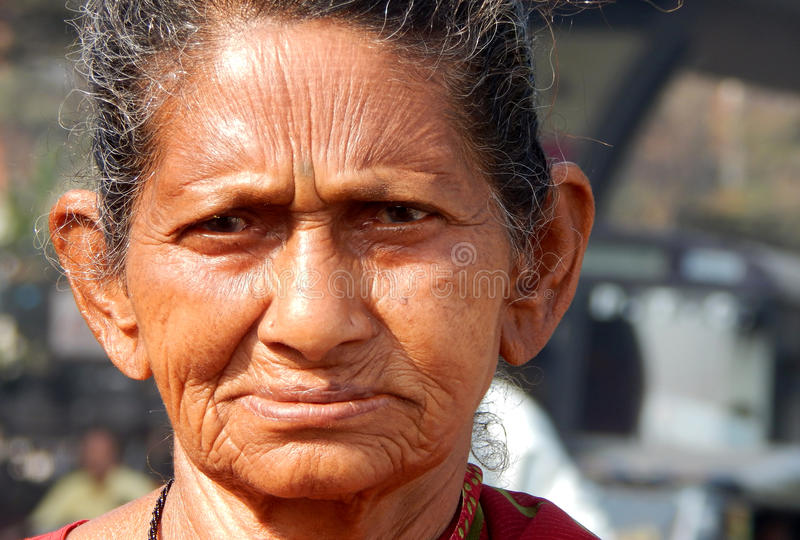 Portrait of Indian poor senior or old woman stock photo