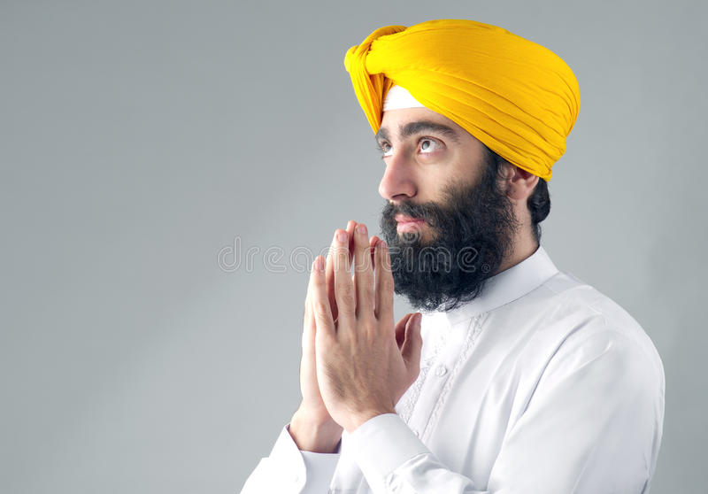 Download Portrait Of Indian Sikh Man With A Bushy Beard Praying Stock Photo - Image: 36218214