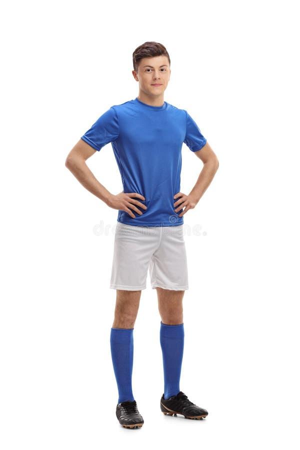 Portrait intégral d'un footballeur adolescent images stock