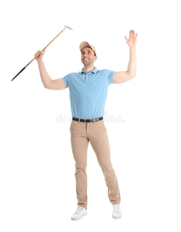 Portrait intégral de l'homme avec le club de golf photographie stock